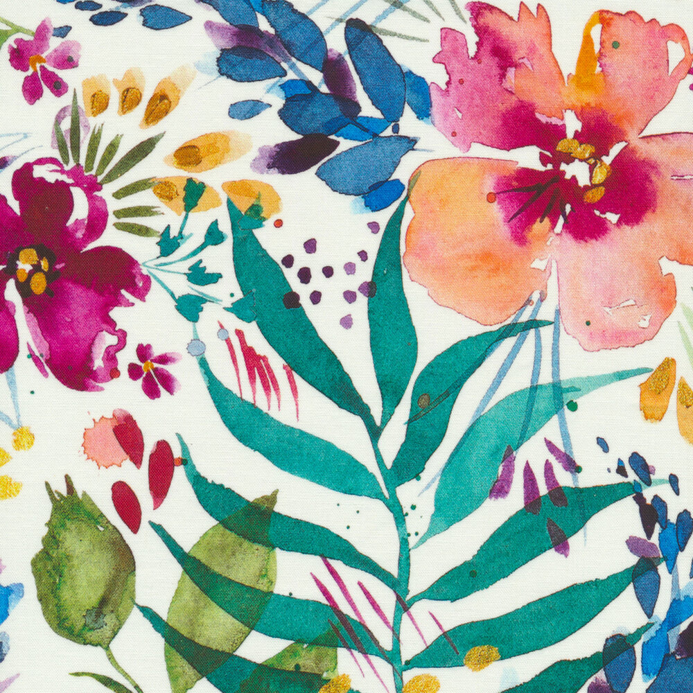 Watercolor style flowers on a white background | Shabby Fabrics