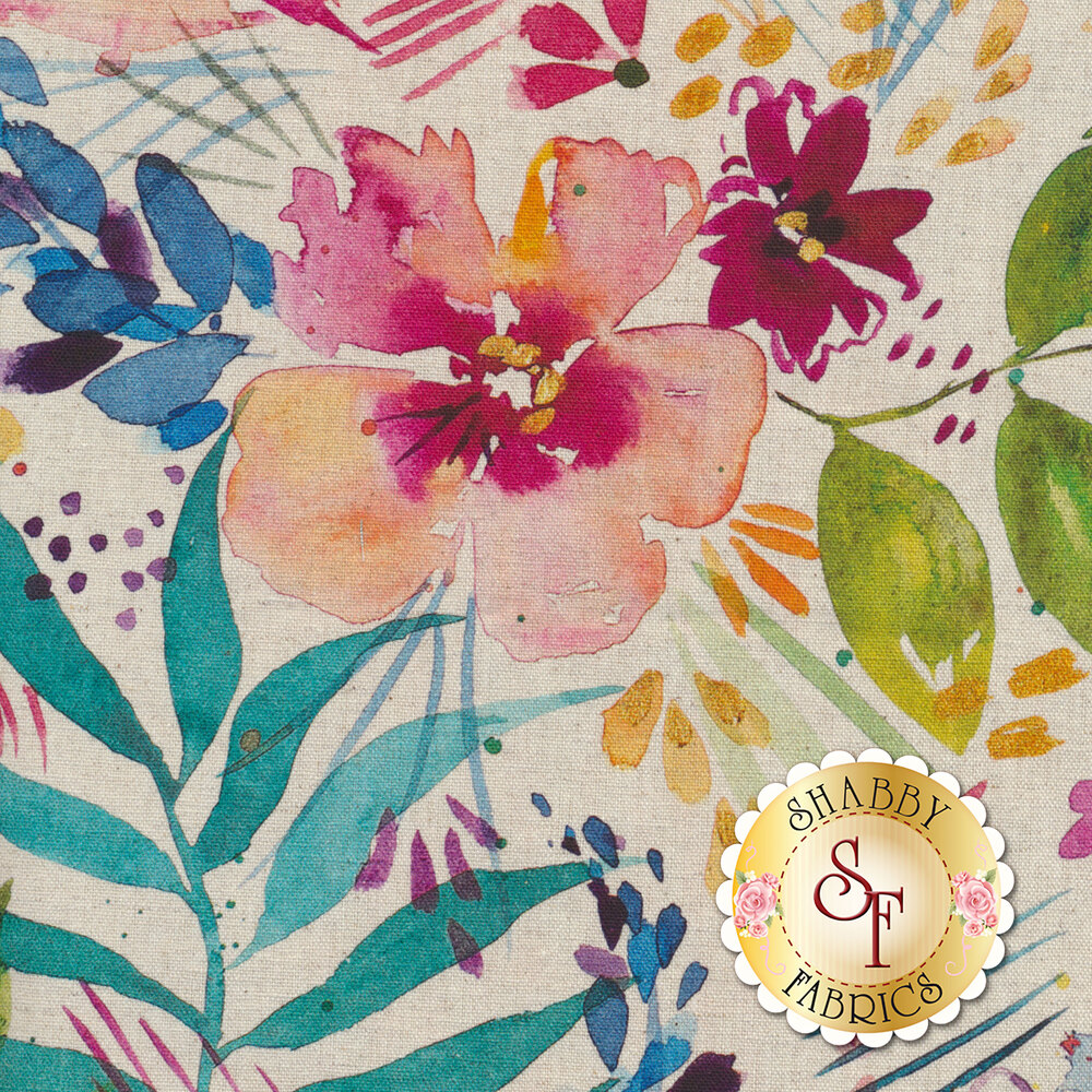 Watercolor style flowers on a white background   Shabby Fabrics