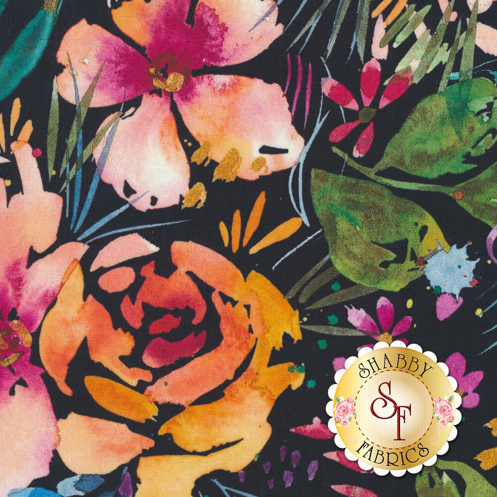 Watercolor style flowers on a navy background | Shabby Fabrics