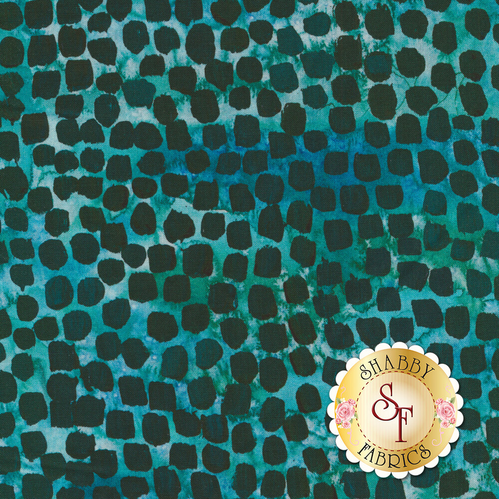 Dark teal spots on a mottled turquoise background | Shabby Fabrics