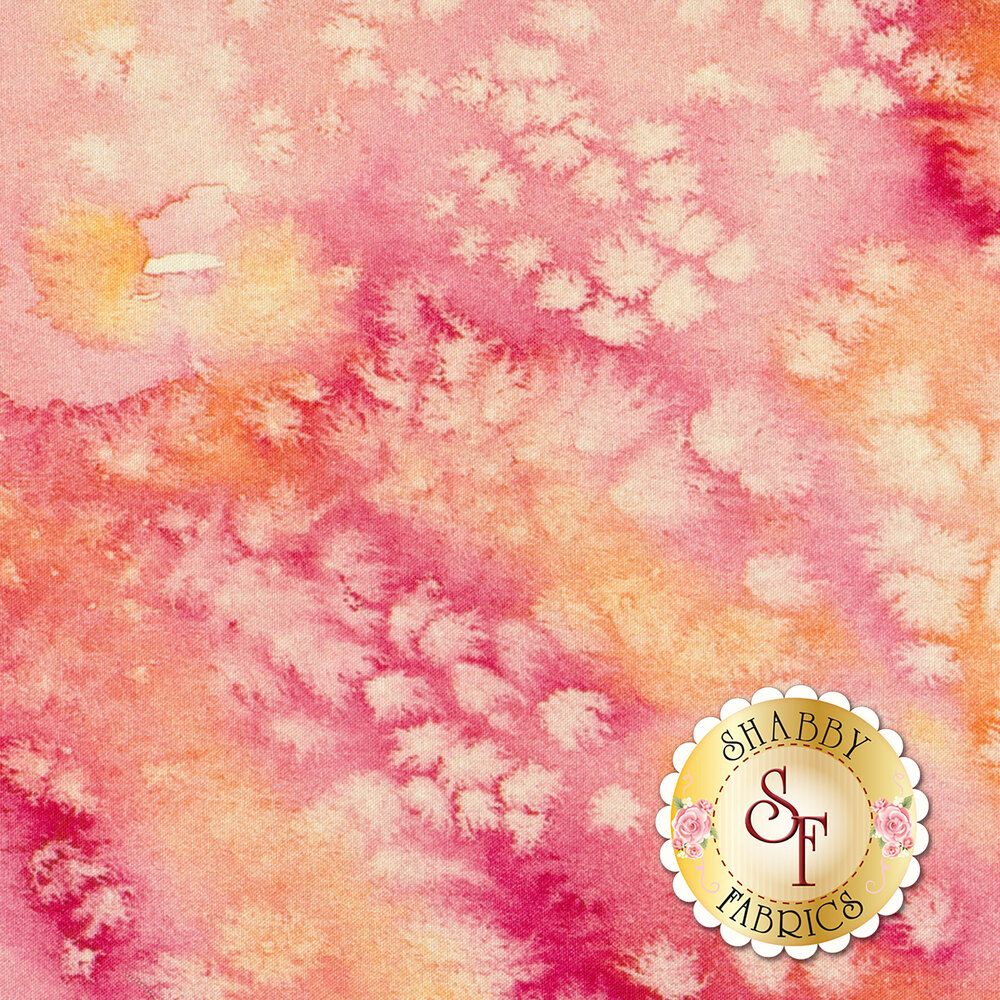Marbled pink fabric with watercolor spots | Shabby Fabrics