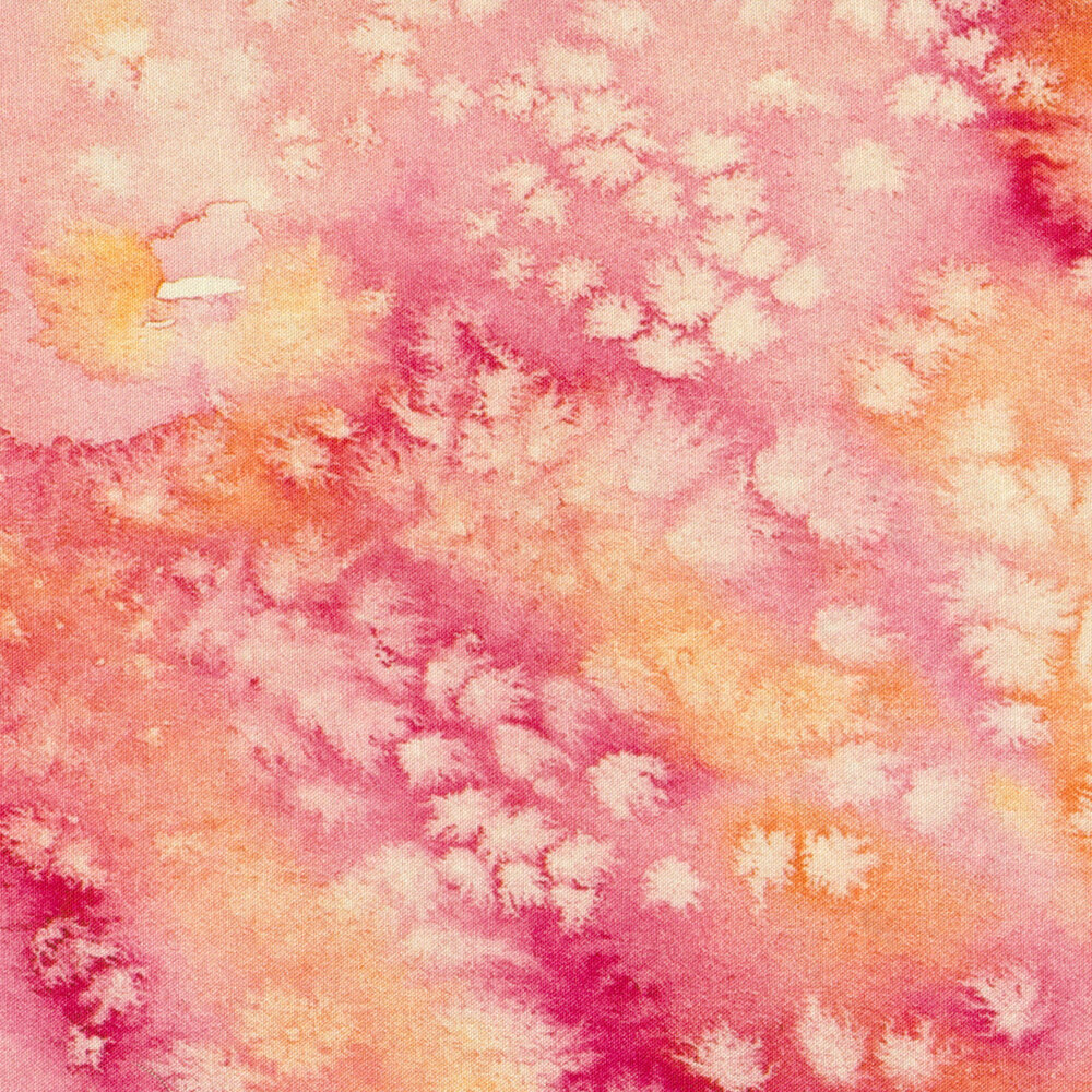 Marbled pink fabric with watercolor spots   Shabby Fabrics
