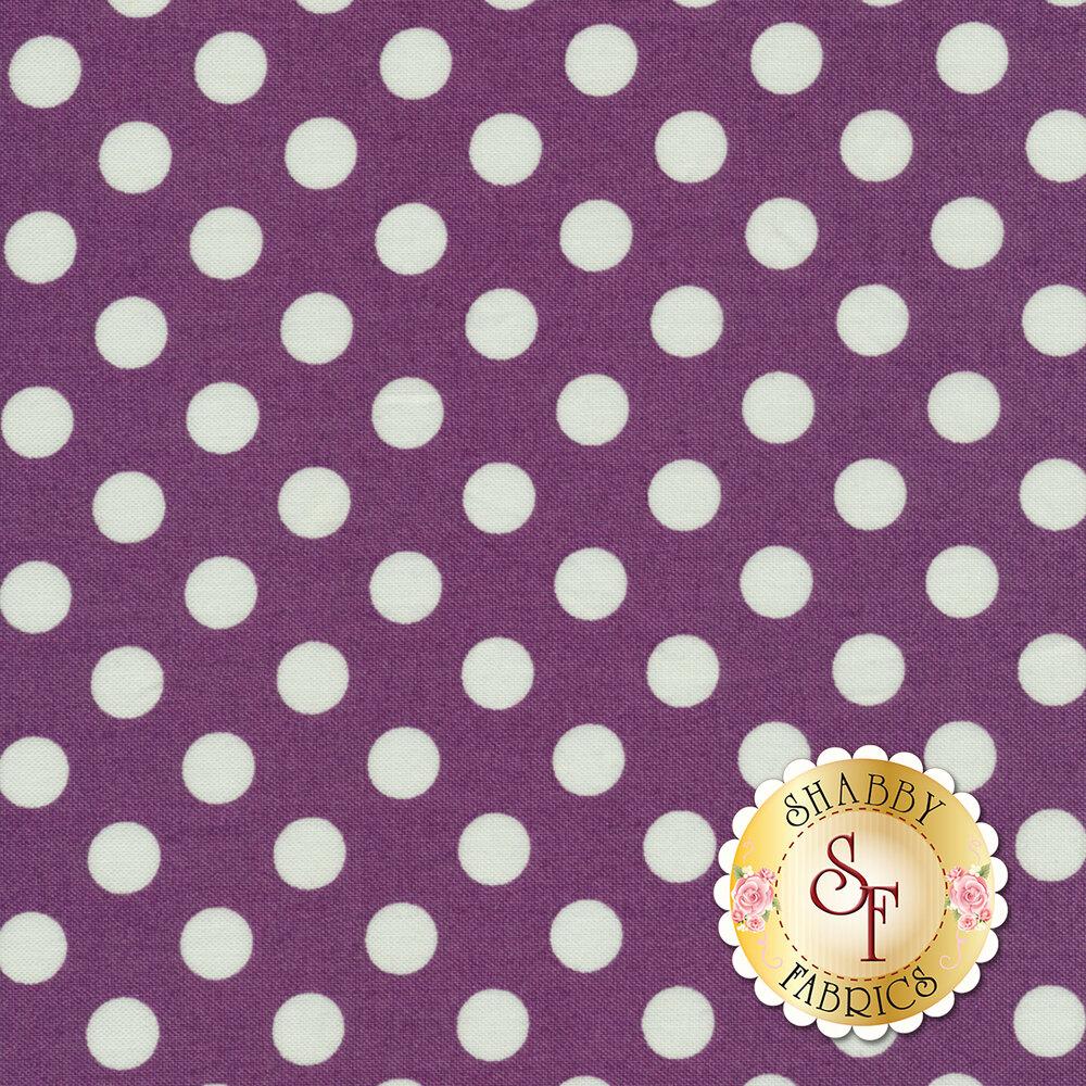 White polka dots on purple | Shabby Fabrics