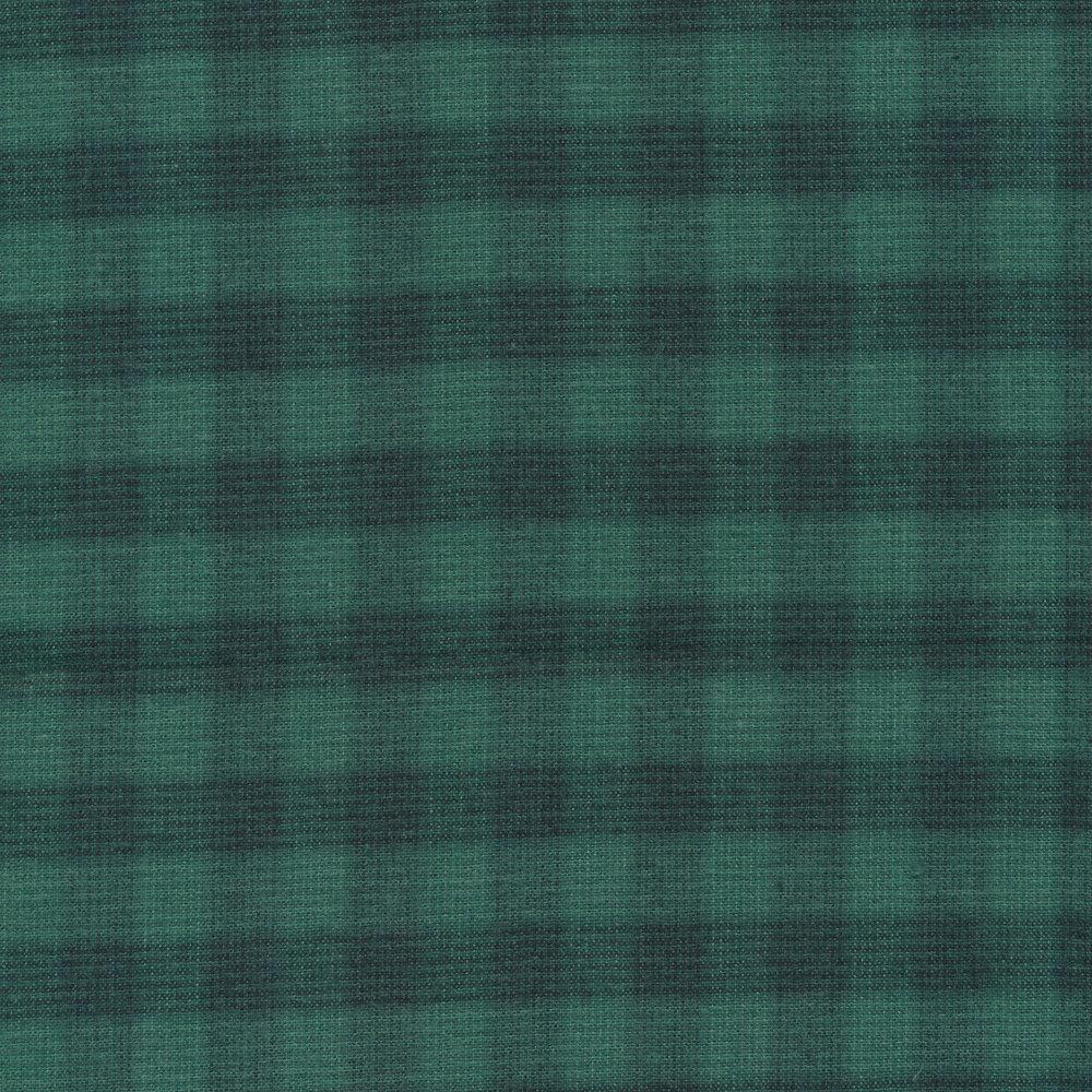 Tonal teal plaid fabric