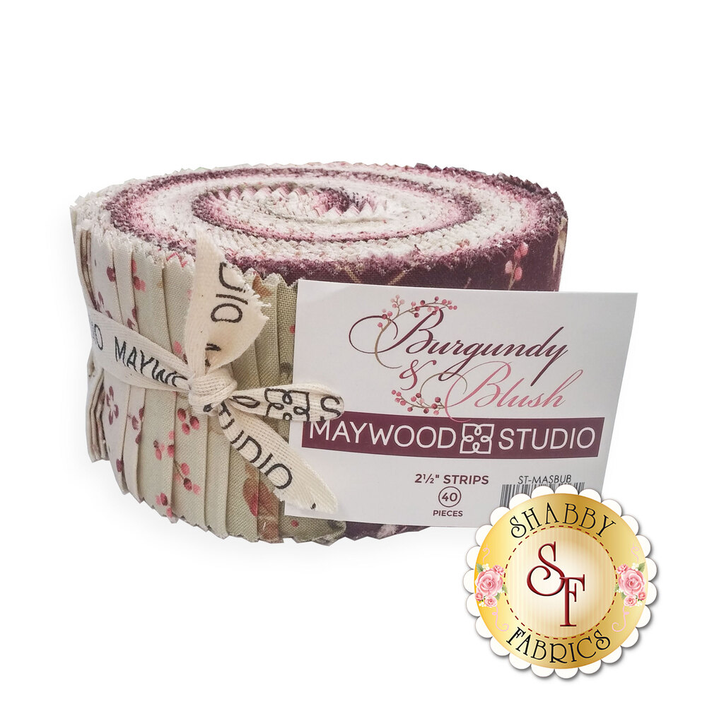 "Burgundy & Blush  2 1/2"" Strips by Maywood Studio now available"