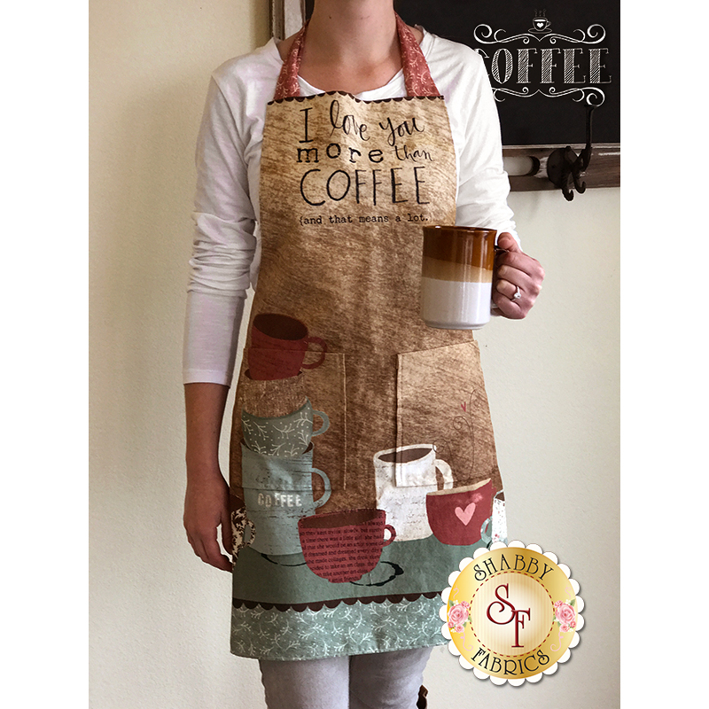 But First, Coffee! 54521-124 Apron Panel Multi by Katie Doucette for Wilmington Prints