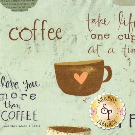 But First, Coffee! 54523-441 Teal by Katie Doucette for Wilmington Prints