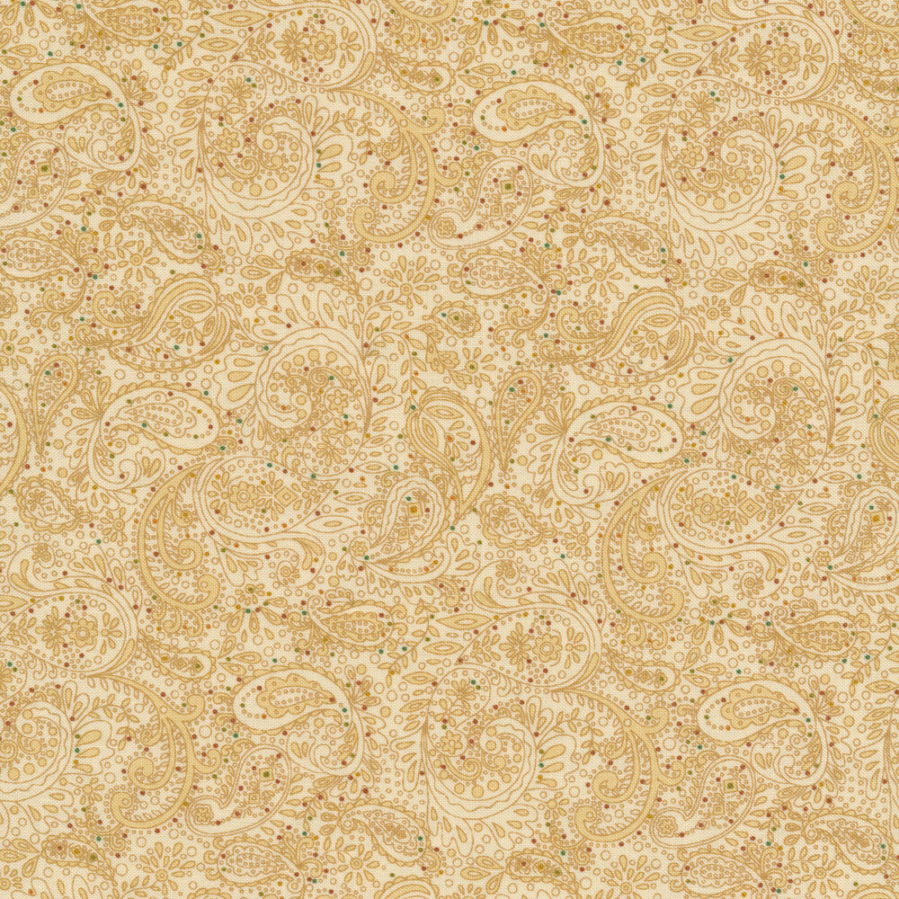 Tonal tan floral paisley | Shabby Fabrics