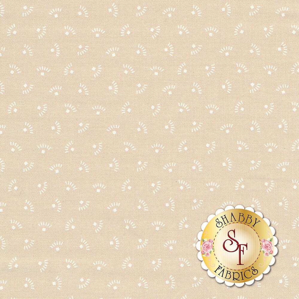 White ditsy eyelash design on tan | Shabby Fabrics