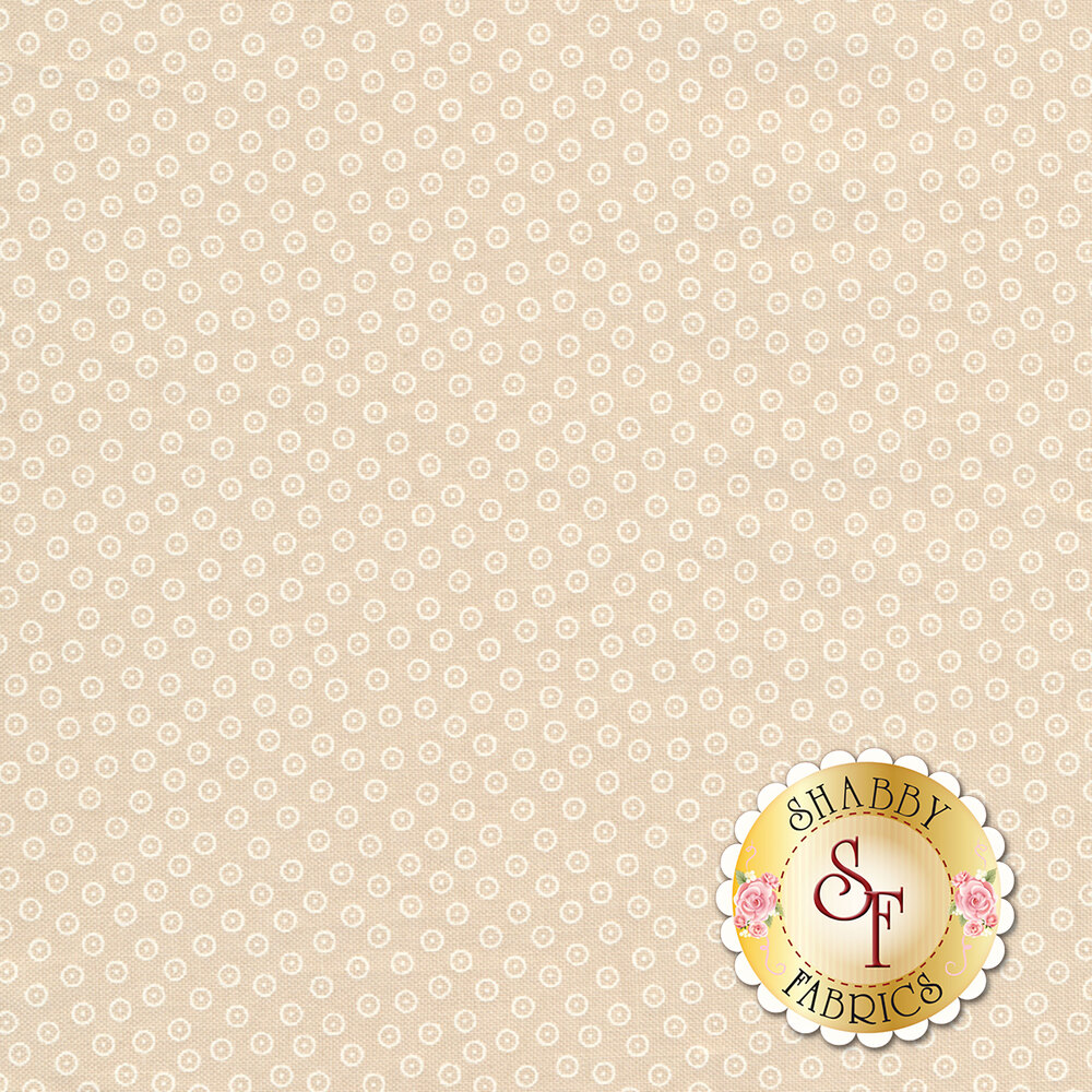 White circles all over tan | Shabby Fabrics