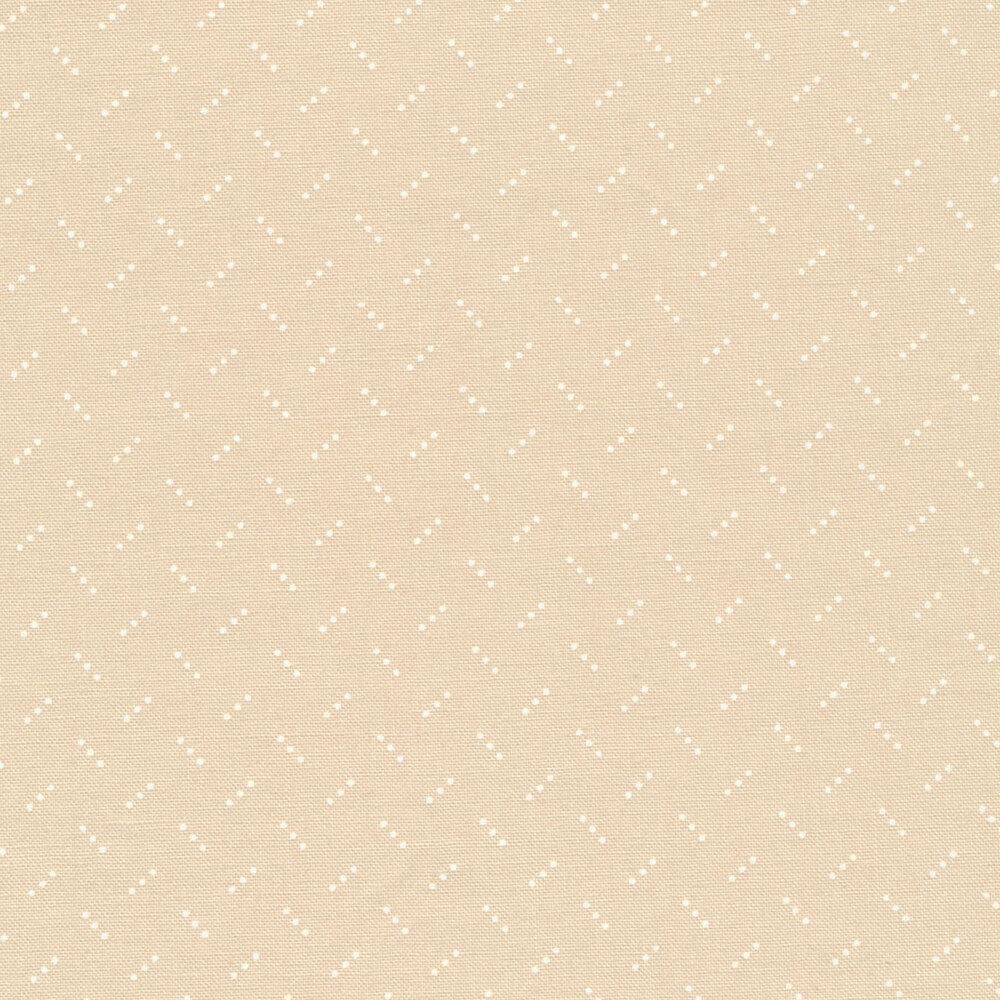 White diagonal dots on tan | Shabby Fabrics