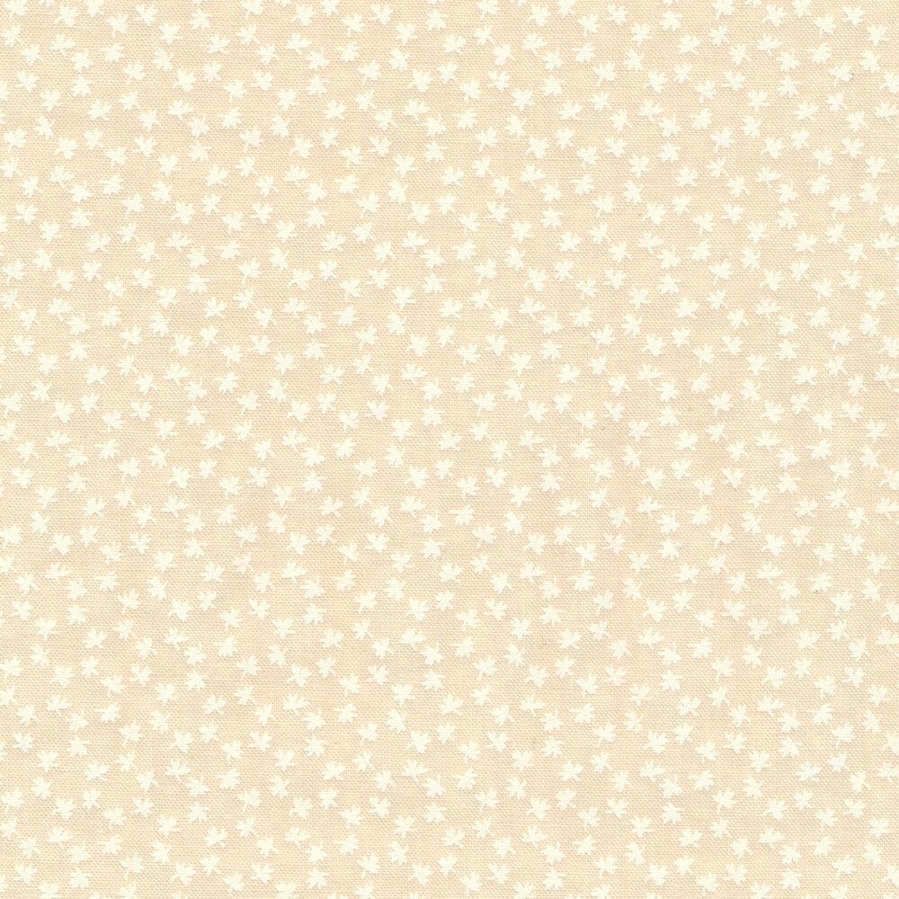 White leaf design on cream | Shabby Fabrics