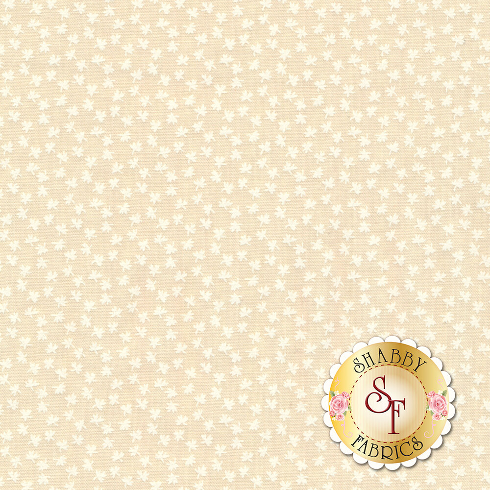 White leaf design on cream | Shabby Fabrics