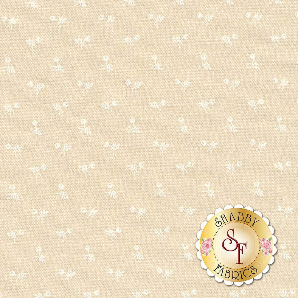 White ditsy flower on cream | Shabby Fabrics