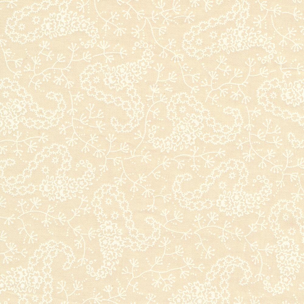 White paisley design on cream | Shabby Fabrics