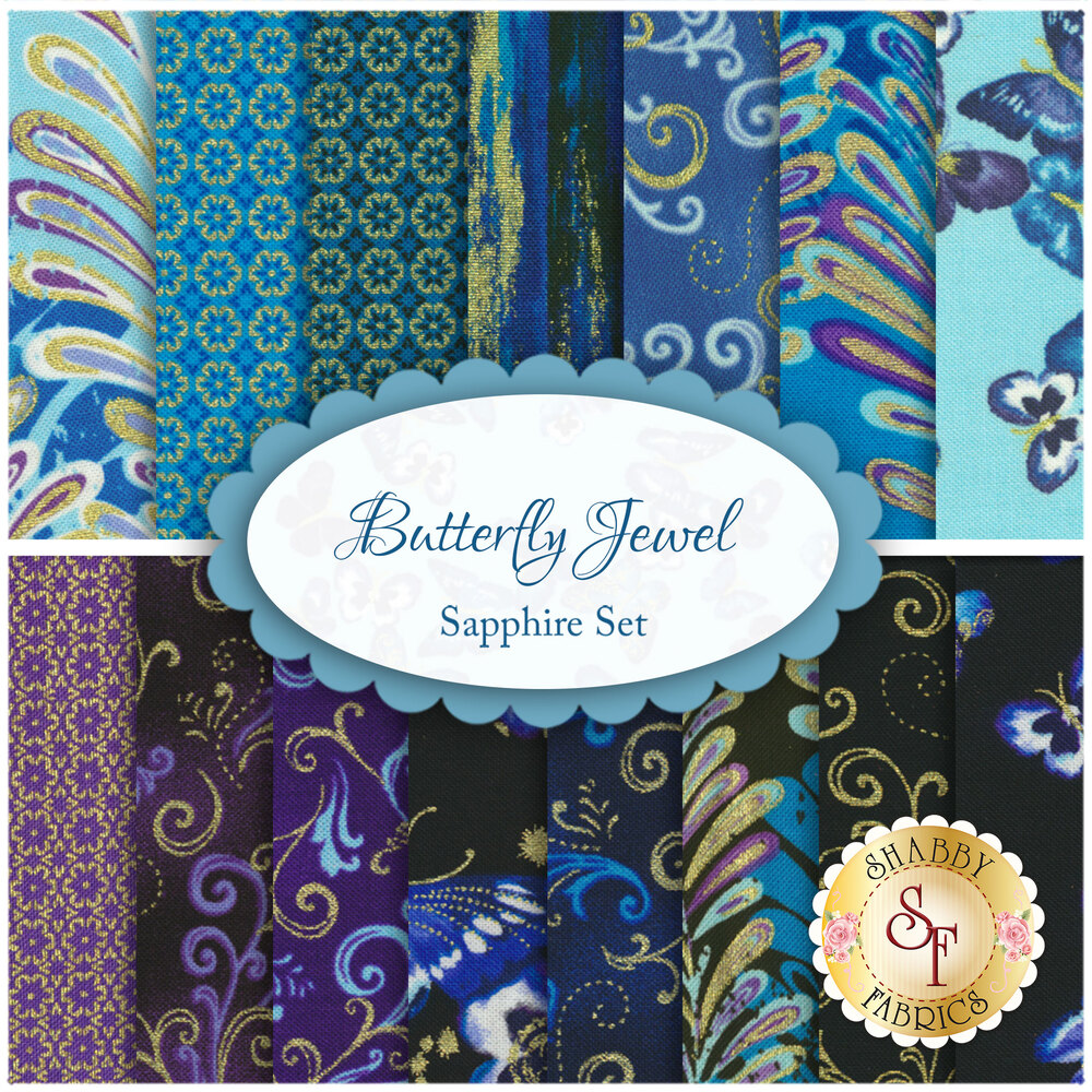 Butterfly Jewel  15 FQ Set - Sapphire by Benartex Fabrics