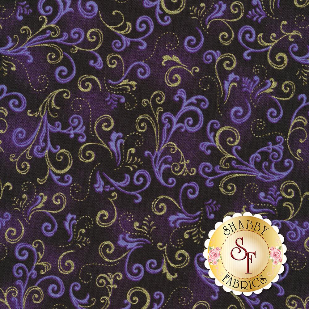 Butterfly Jewel 8863M-60 Jeweled Scroll Black/Iris by Benartex Fabrics