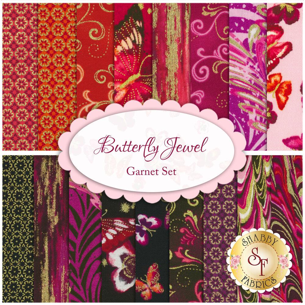 Butterfly Jewel  19 FQ Set - Garnet Set for Benartex Fabrics