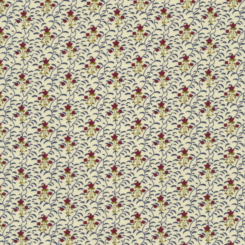 Red flowers on a cream background with dark vines all over | Shabby Fabrics
