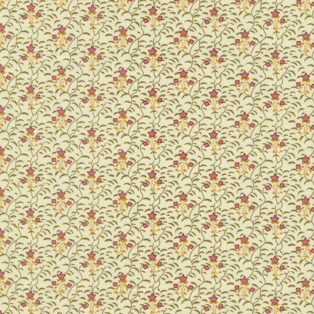 Pink flowers on a cream background with green vines all over | Shabby Fabrics