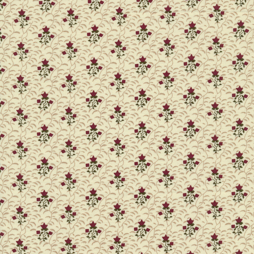 Red flowers on a cream background with tan vines all over | Shabby Fabrics