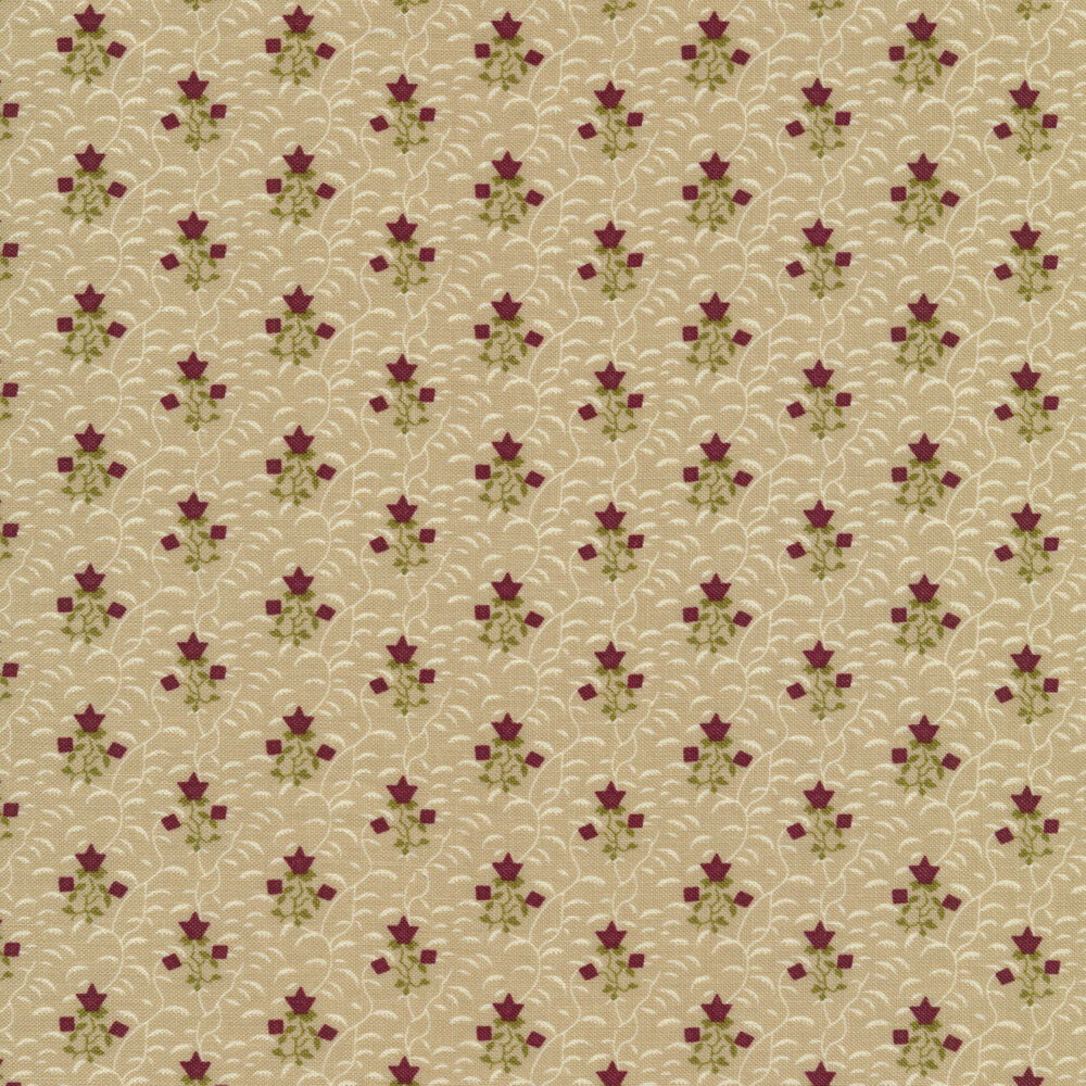 Red flowers on a tan background with cream vines all over | Shabby Fabrics