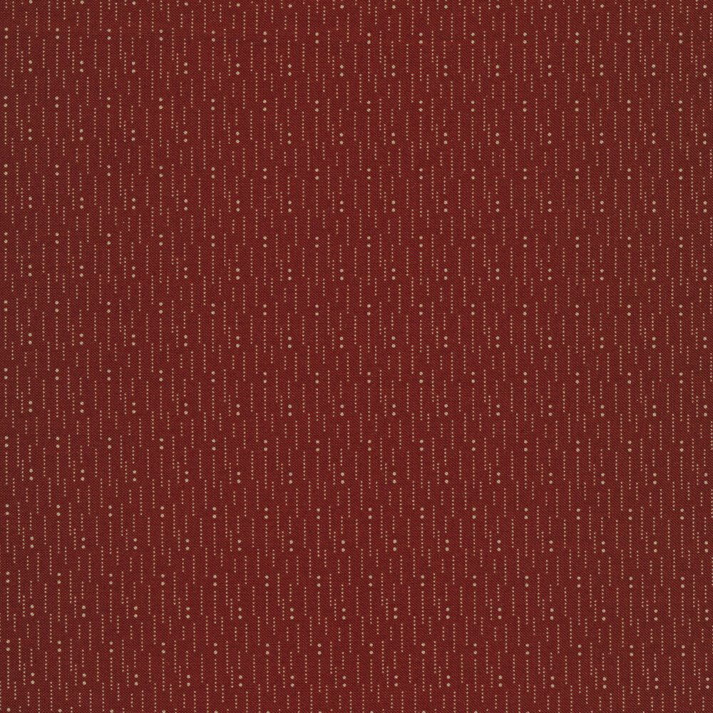 Tan lines and dots on a maroon background | Shabby Fabrics