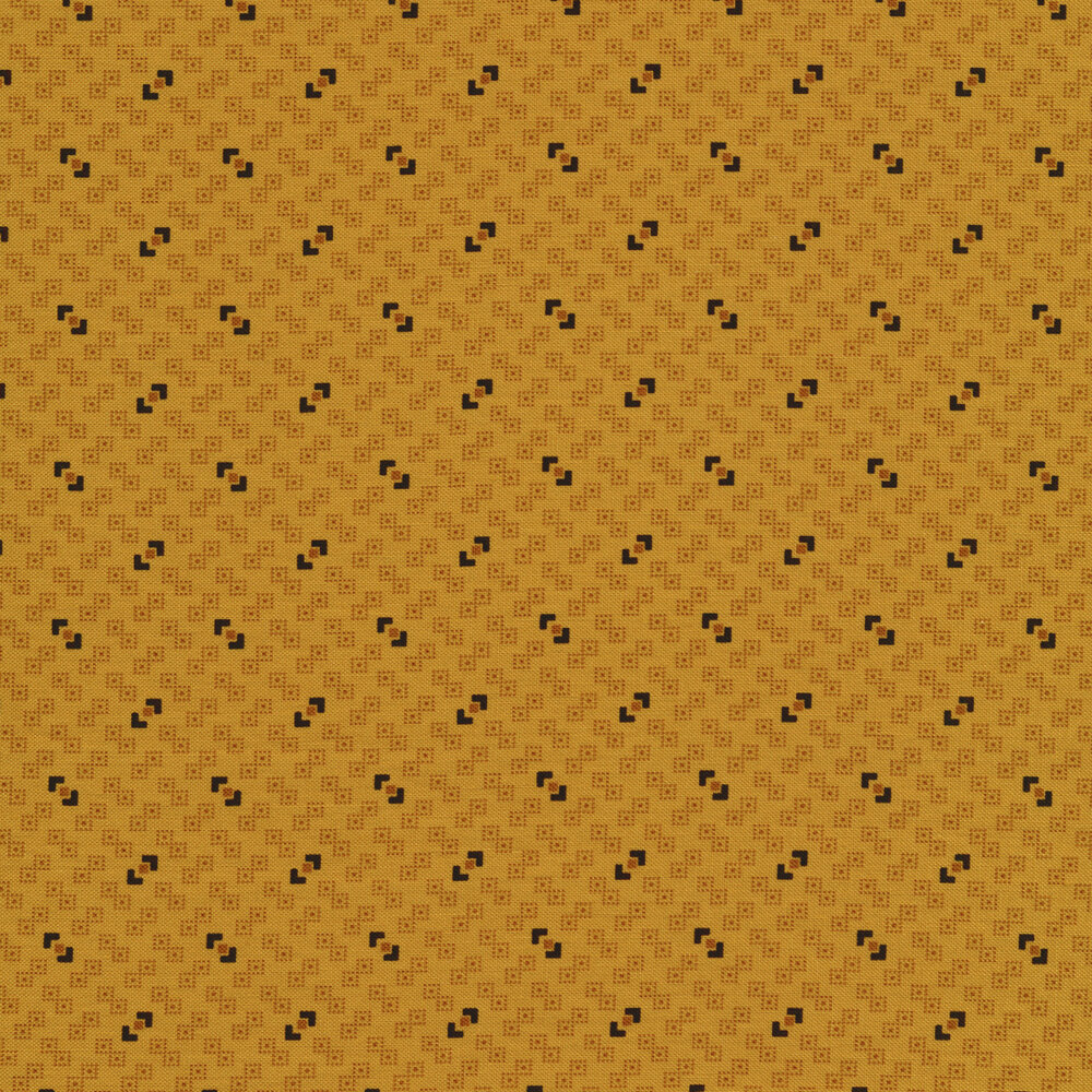 Yellow fabric with dotted white boxes and black squares all over | Shabby Fabrics