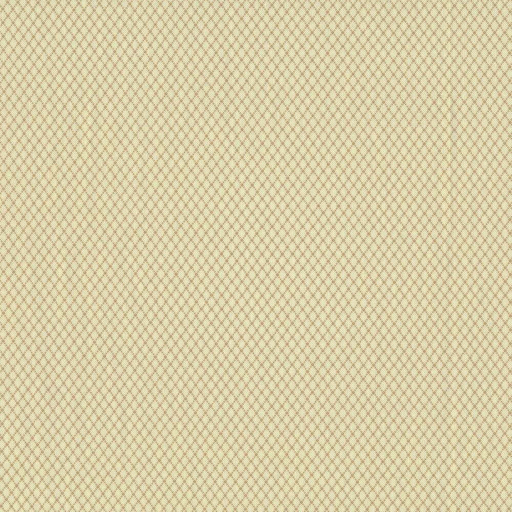 Tan diamond patterns all over a cream background | Shabby Fabrics