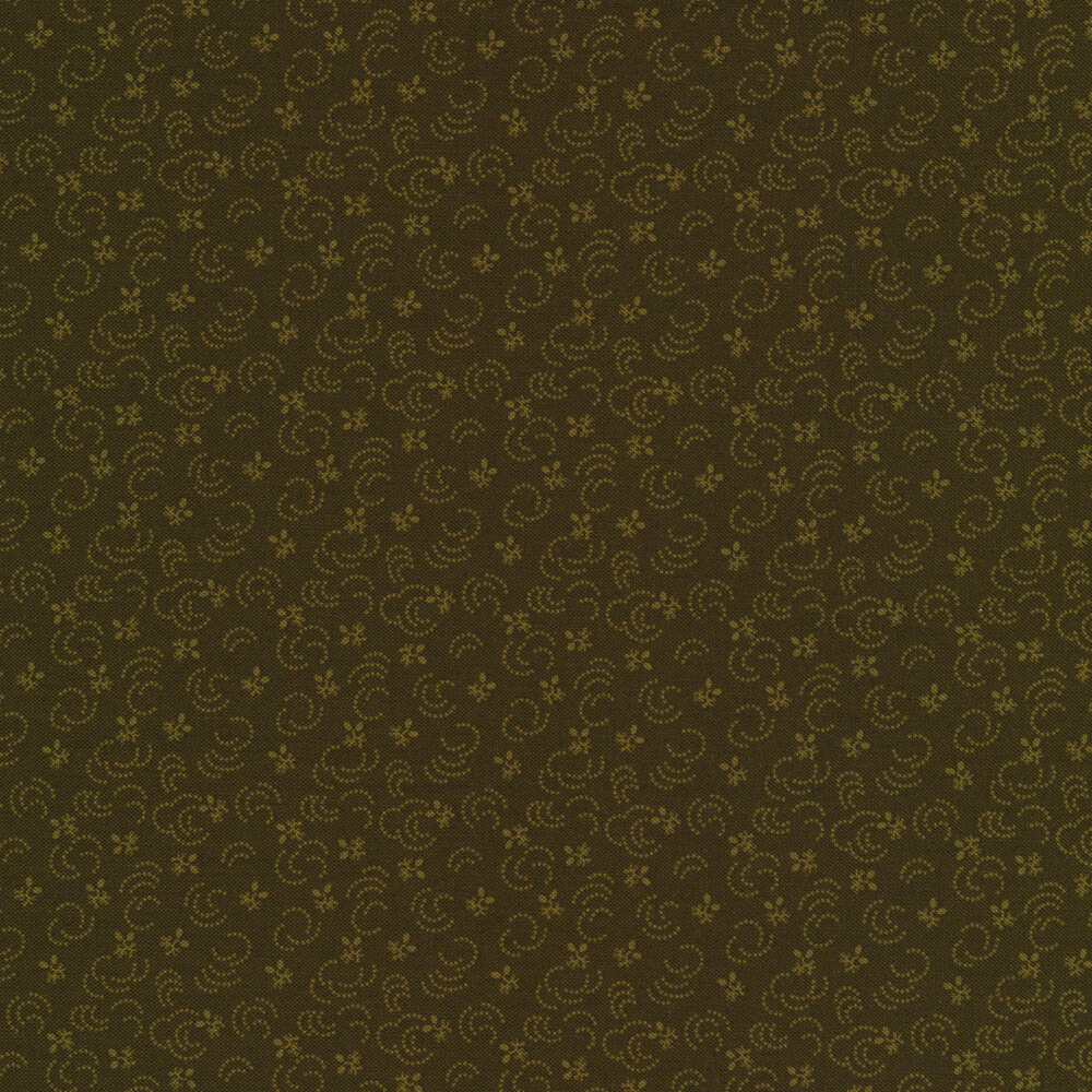 Tonal light green dots and tossed flowers on a dark green background | Shabby Fabrics