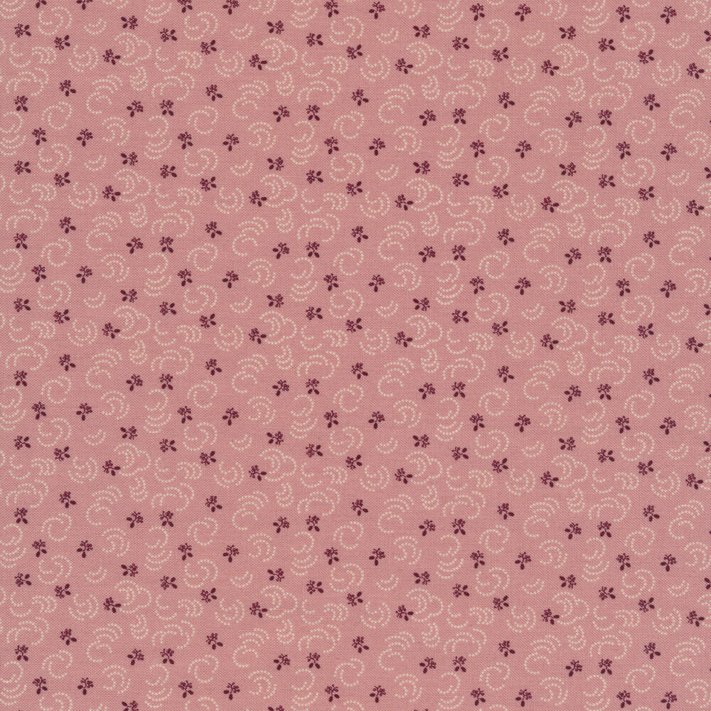 Pink fabric with tossed dark purple flowers and small white dotted lines | Shabby Fabrics