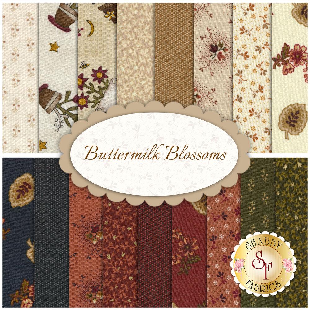 Buttermilk Blossoms  17 FQ Set for Henry Glass Fabrics