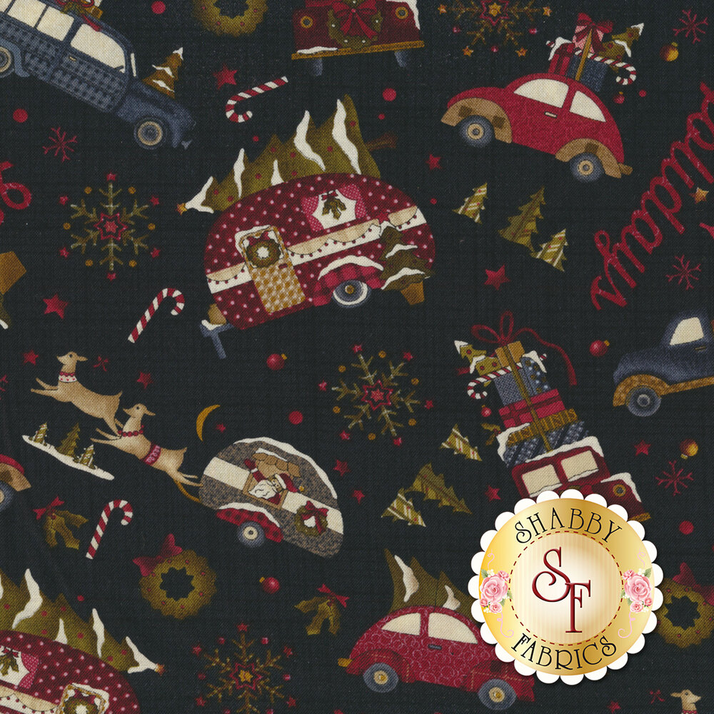 Fabric featuring tossed vintage trucks, candy canes, and Christmas trees on black background