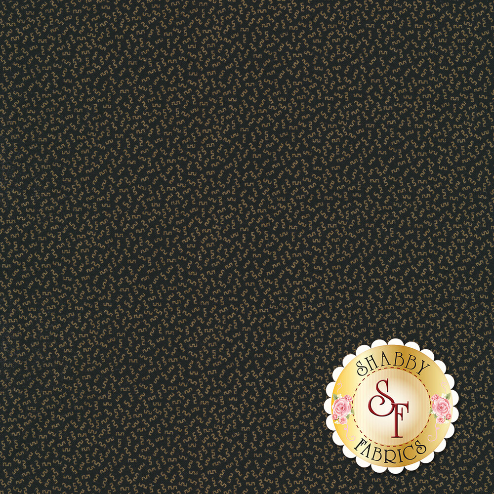 Gold geometric shapes on a black background | Shabby Fabrics