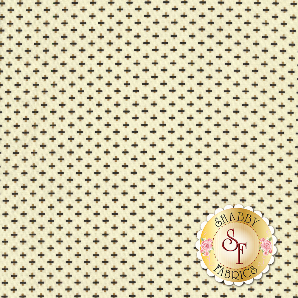Brown and Black crosses on a cream background | Shabby Fabrics