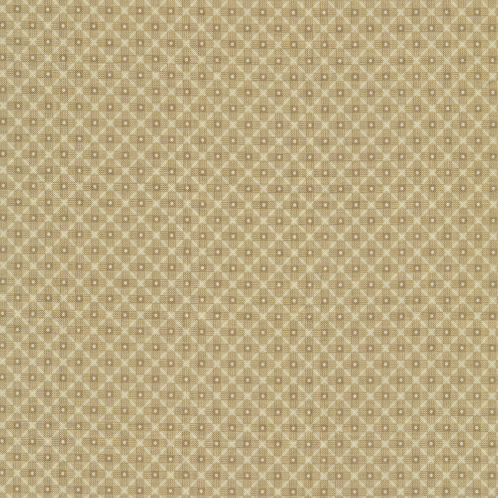 Light brown tonal checkered design with white dots | Shabby Fabrics