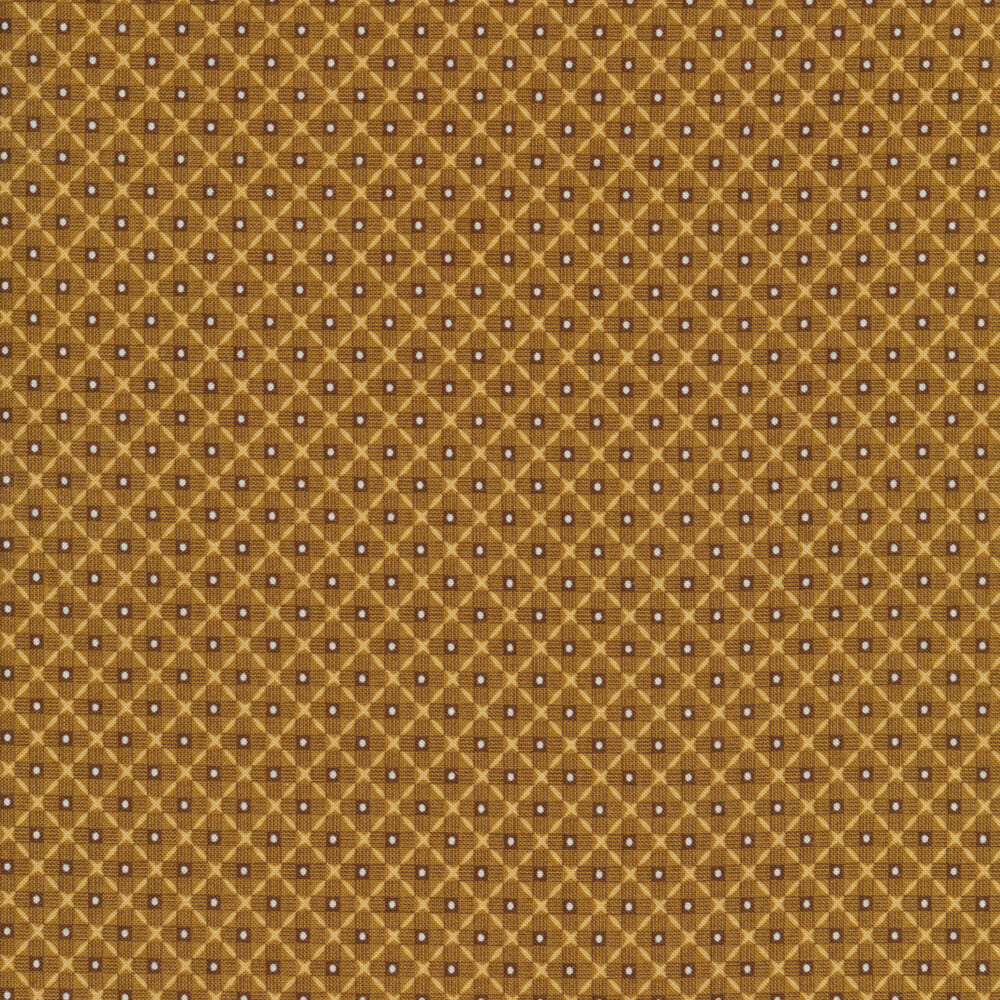 Brown tonal woven pattern with white dots | Shabby Fabrics