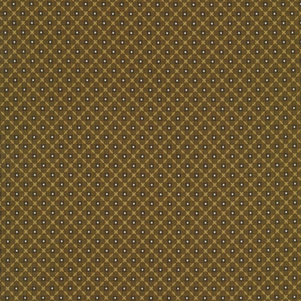 Tonal olive colored diamond weave with white dots | Shabby Fabrics