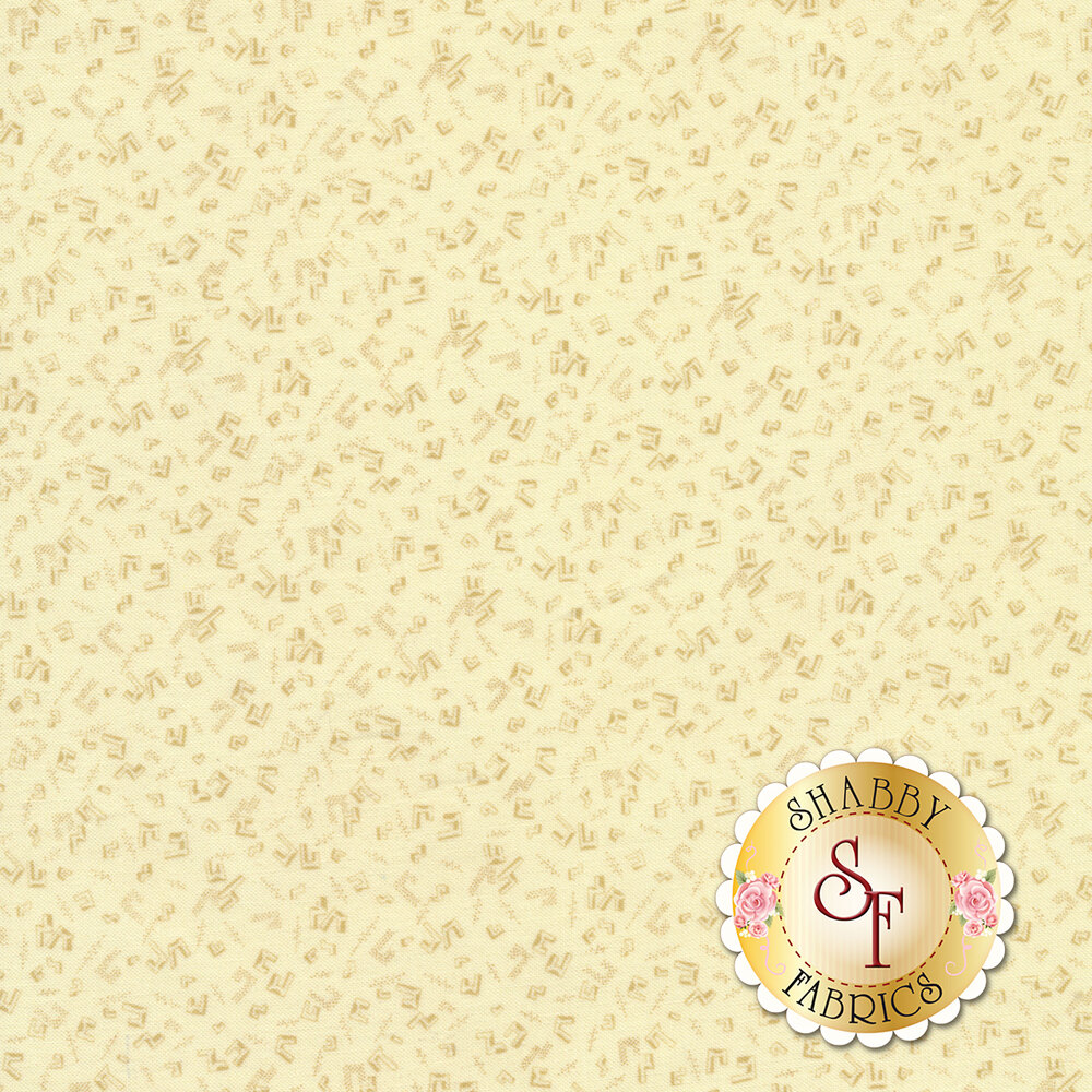 Tonal fabric with geometric outlines on a cream background | Shabby Fabrics