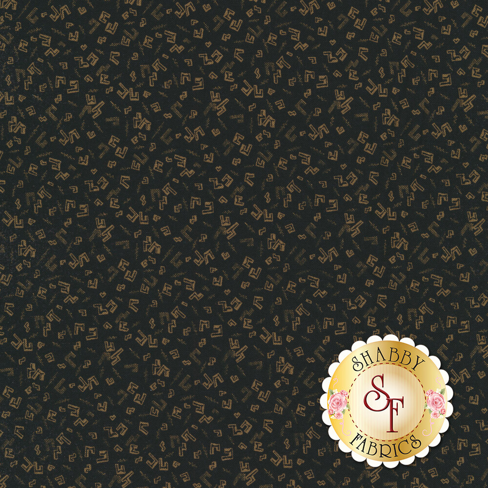 Gold geometric outlines on a black background | Shabby Fabrics