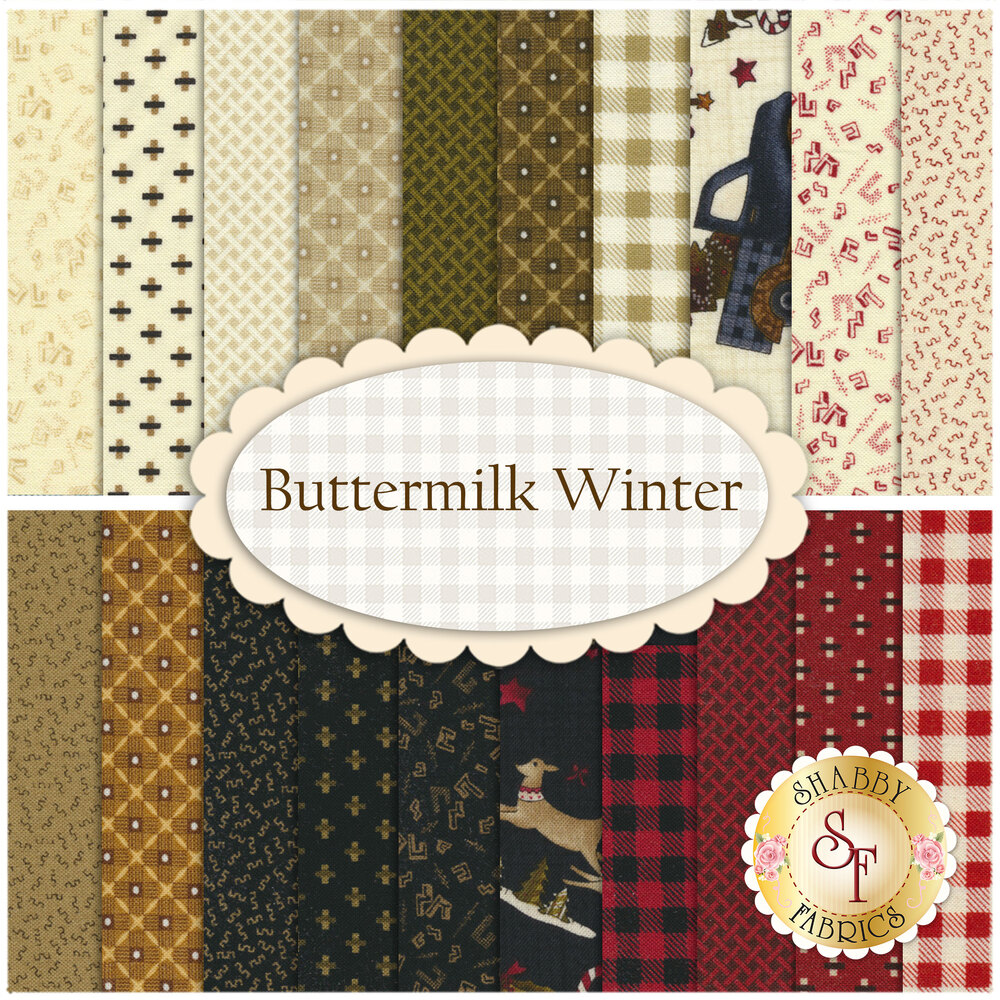 A collage of the fabrics included in the Buttermilk Winter Fat Quater set | Shabby Fabrics