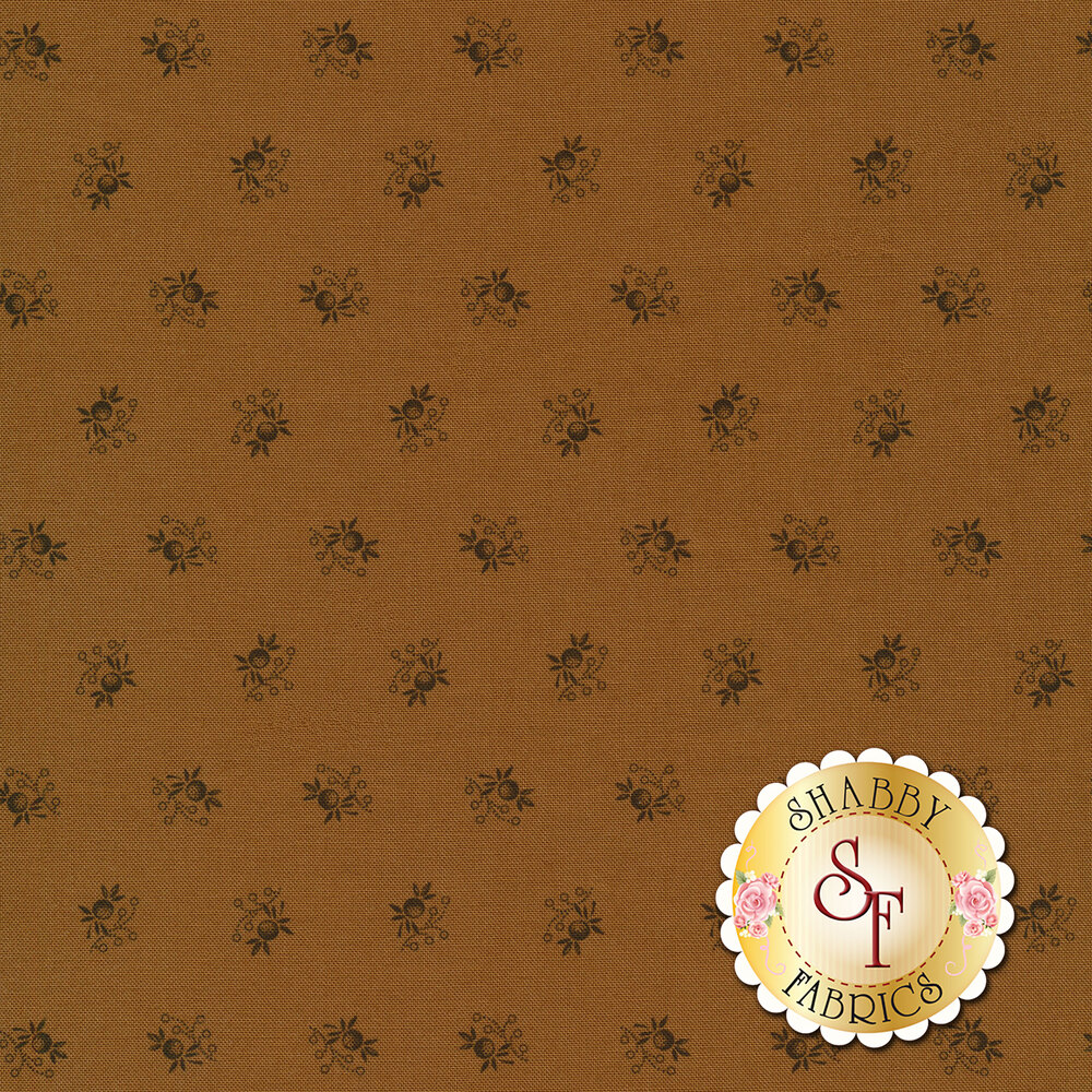 Black ditsy floral print on brown | Shabby Fabrics