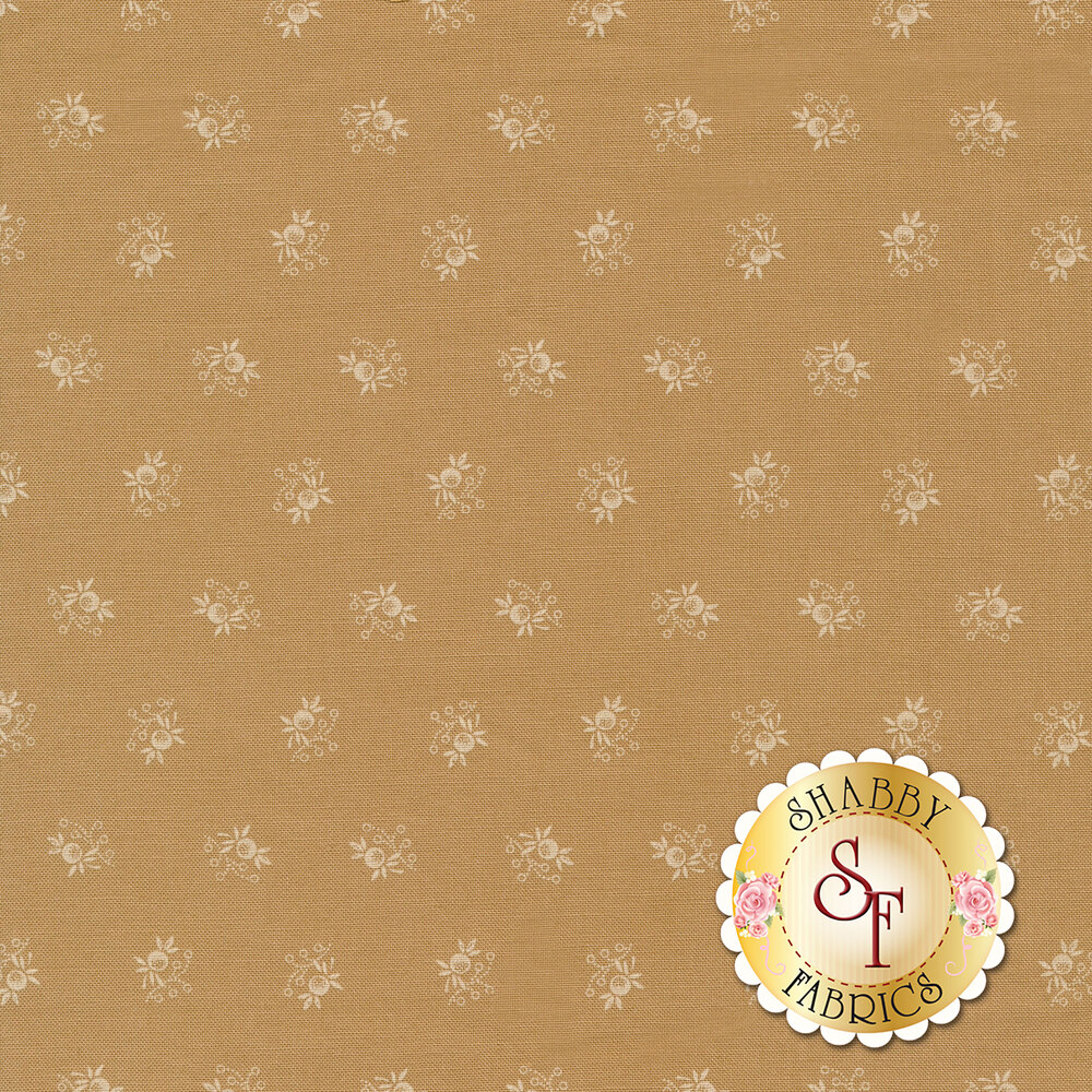 White ditsy floral print on tan | Shabby Fabrics