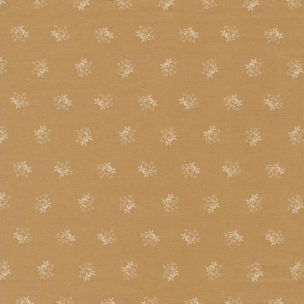 White ditsy floral print on tan | Shabby Fabrics