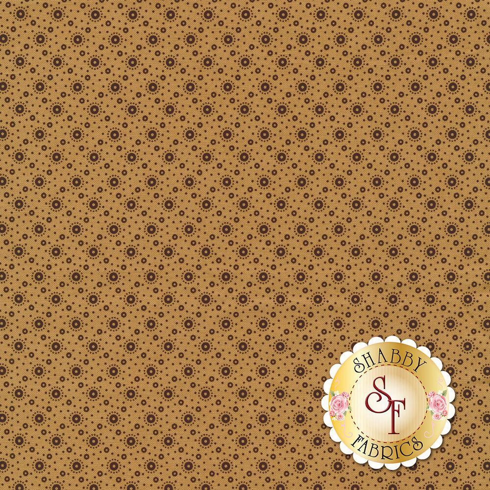 Black polka dot print on tan | Shabby Fabrics