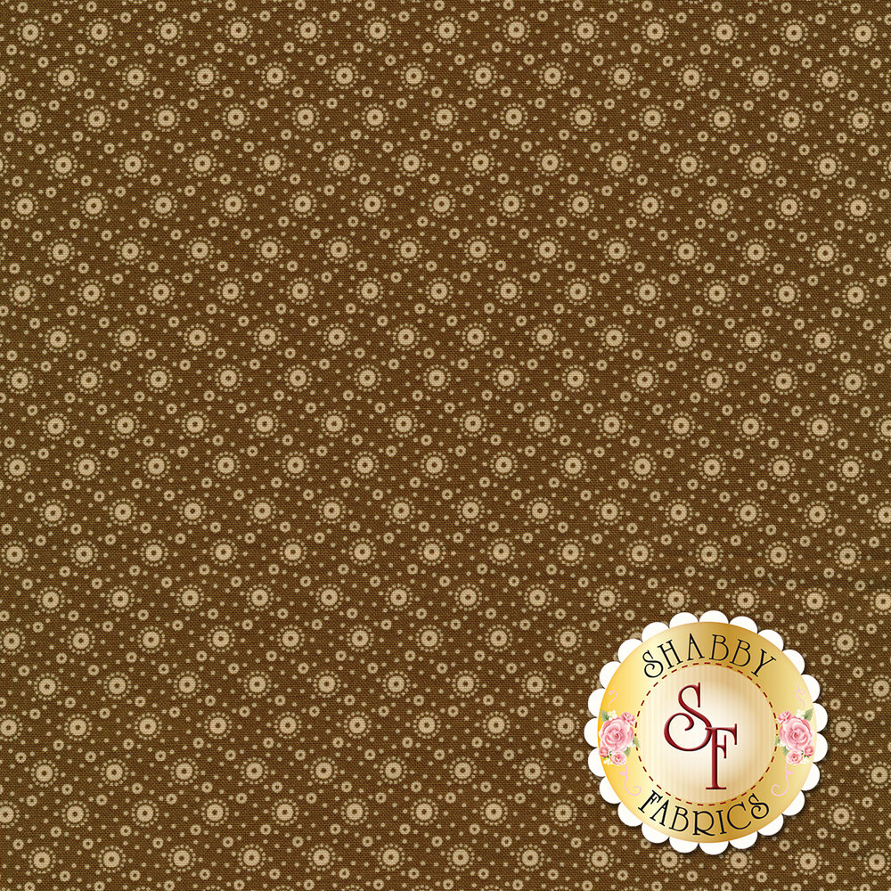 tan polka dot print on brown | Shabby Fabrics