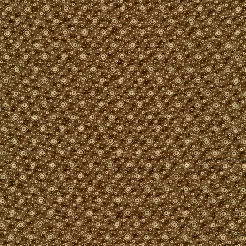 tan polka dot print on brown | Shabby Fabrics