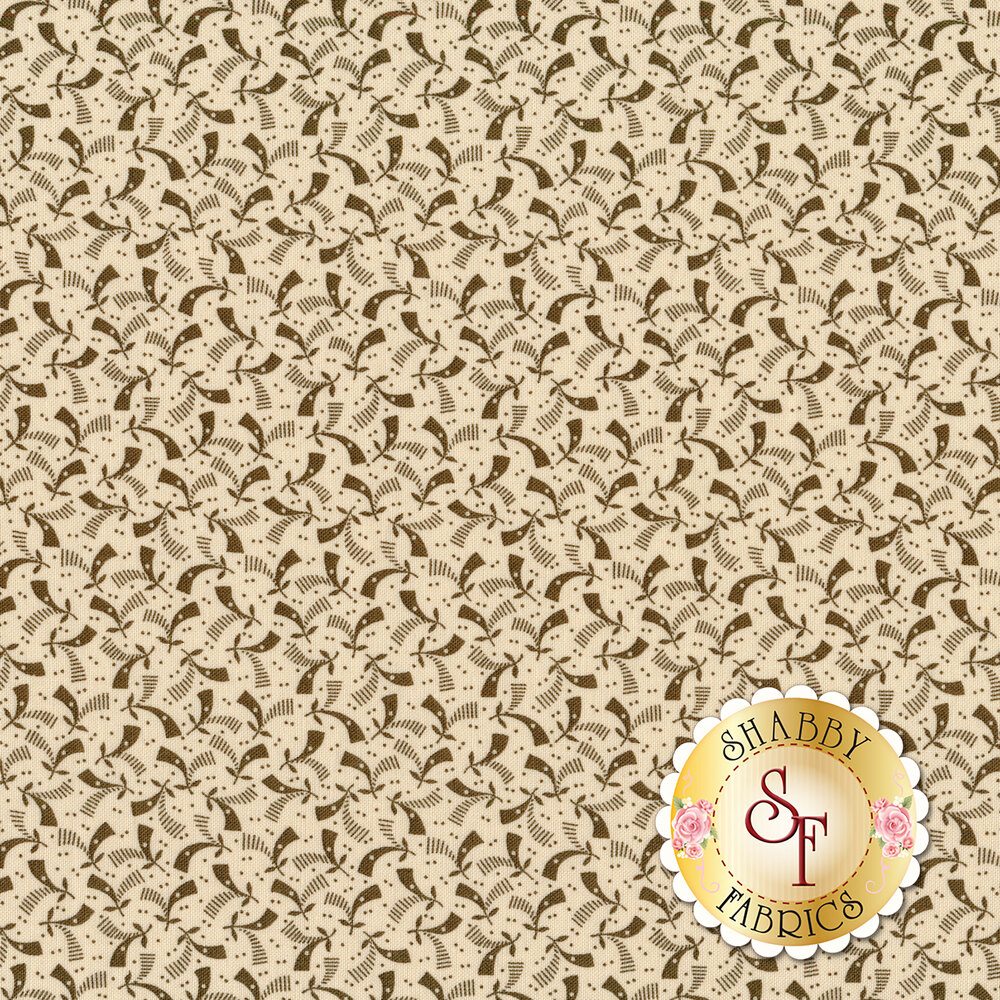 Brown geometric pattern on cream | Shabby Fabrics
