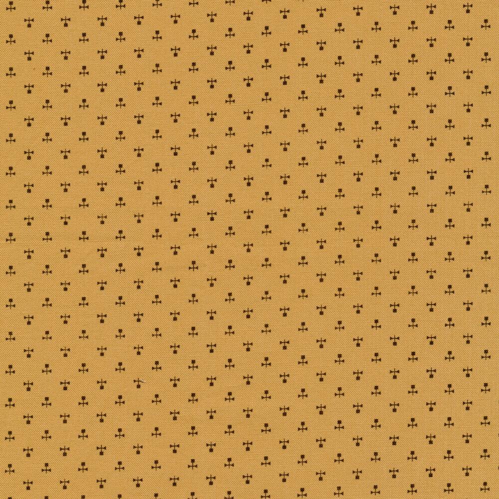 Black ditsy print on caramel   Shabby Fabrics