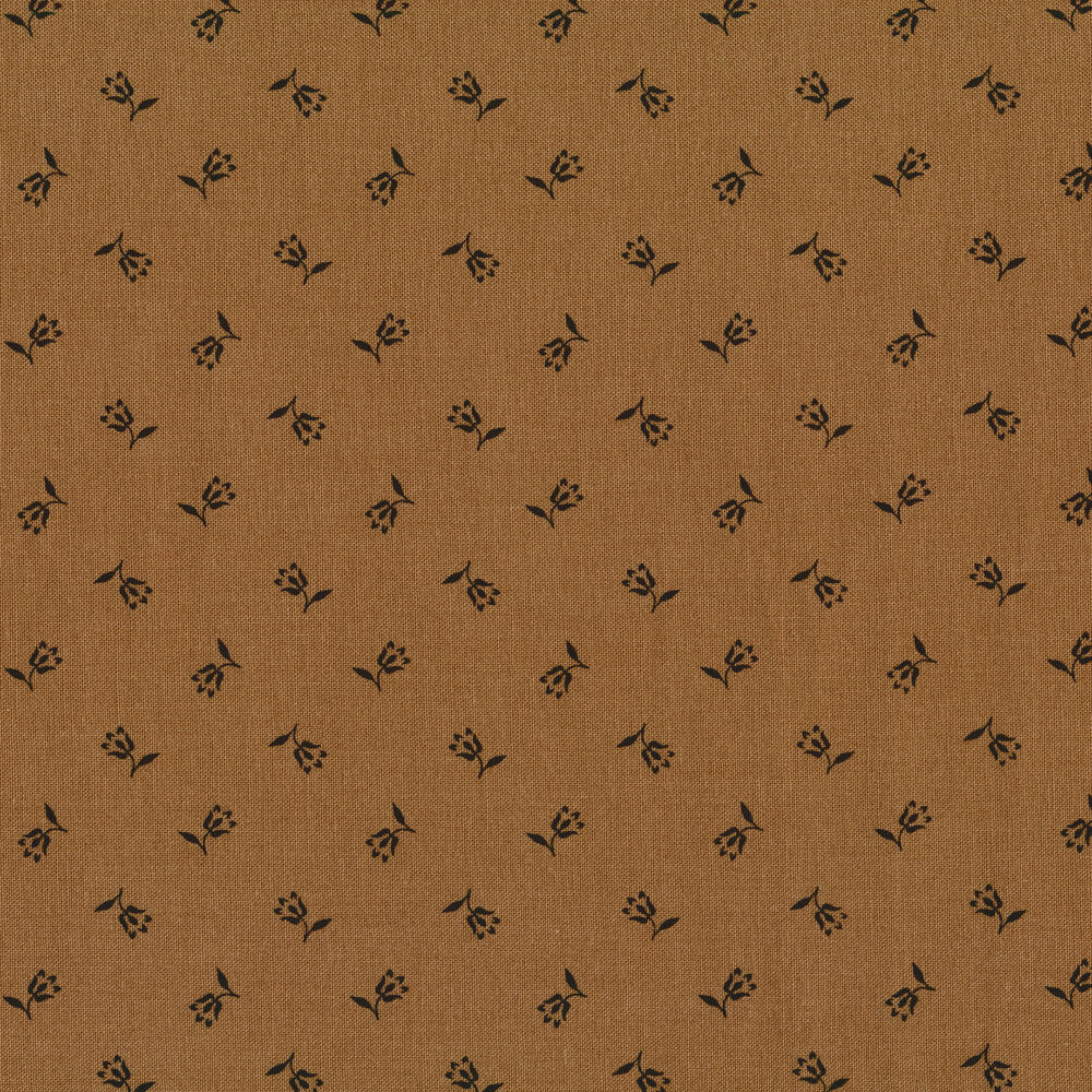 Black ditsy flowers on brown | Shabby Fabrics